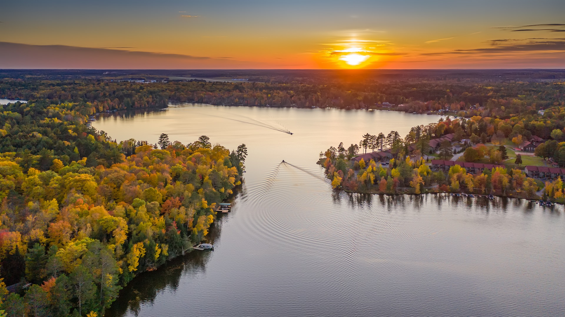 eagle-river-chain-of-lakes-sunset-aerial